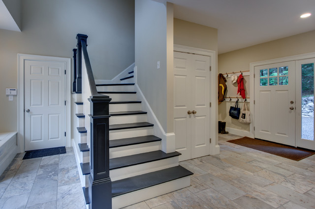 Gentil Mudroom / Back Stairs Traditional Staircase