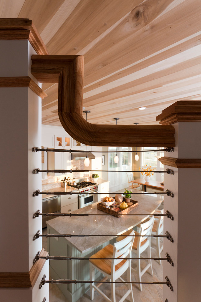 Staircase - large contemporary wooden l-shaped mixed material railing staircase idea in Salt Lake City with painted risers