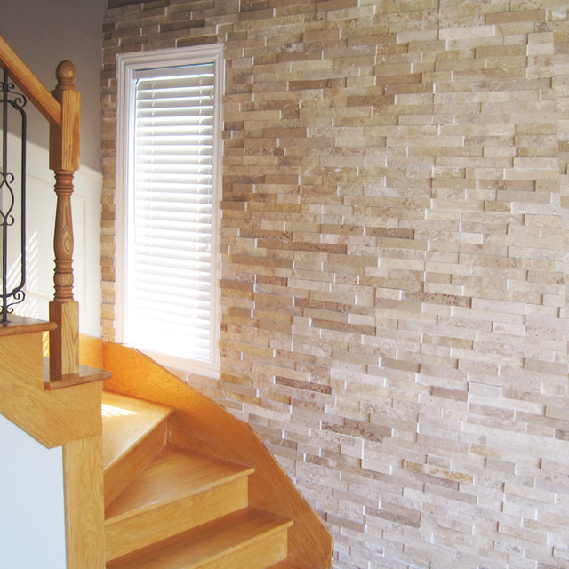 Natural Stacked Stone Spiral Stairway Traditional Staircase