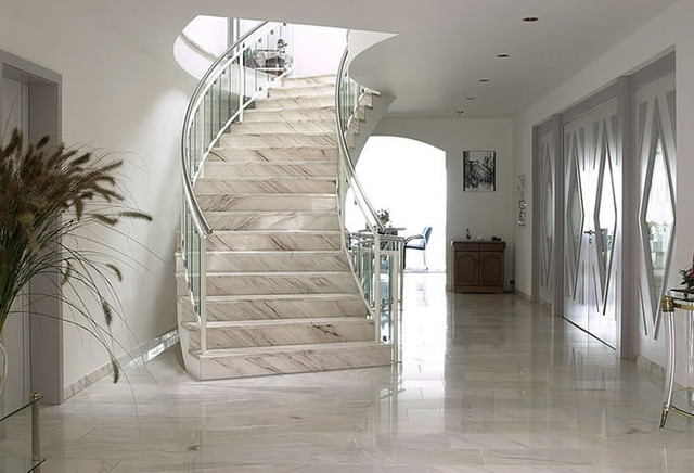 Exceptional Natural Stone Ideas_Palissandro Marble Stairway Modern Staircase