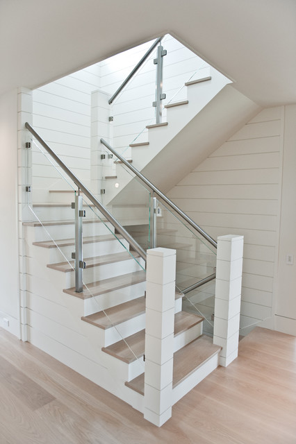 Nautical Staircase With Glass Railing Beach Style