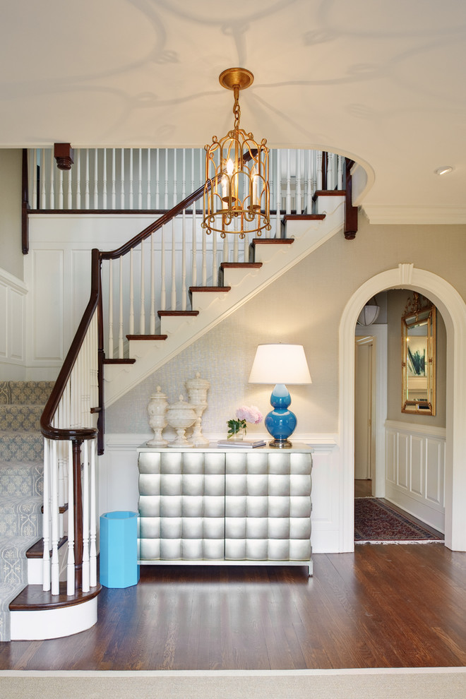 Staircase - traditional wooden l-shaped staircase idea in Richmond