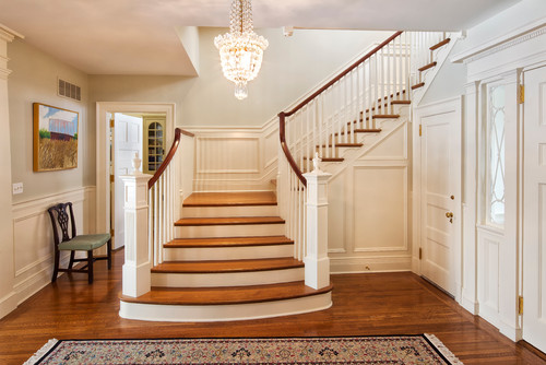 Amazing Stairway Ideas With Stained Trim
