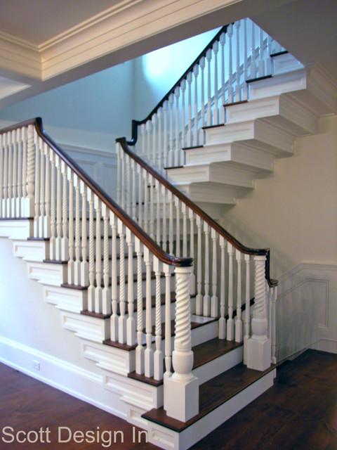 New 1850's Greek Revival Farmhouse farmhouse-staircase
