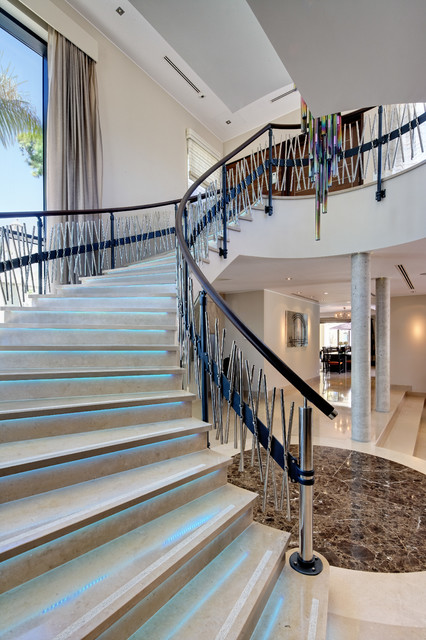 Photo of a contemporary curved staircase in Other.