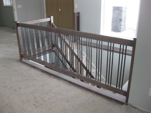 New Construction   Contemporary Maple Railings With Metal Spindles  Contemporary Staircase