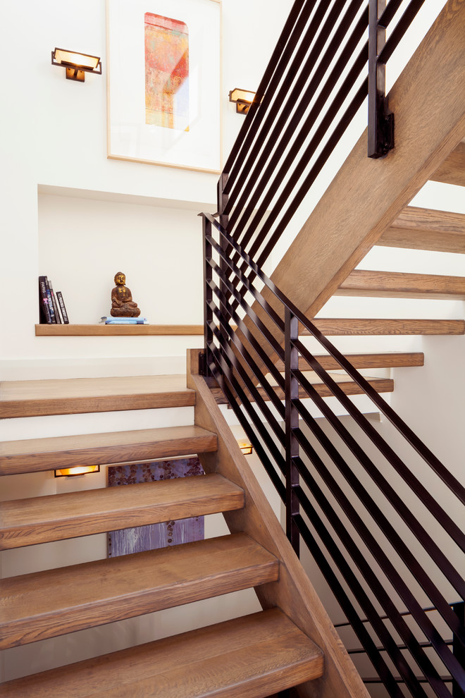 Inspiration for a contemporary open and metal railing staircase remodel in San Francisco