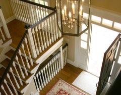 New Old Farmhouse: Stairwell and Front Entry traditional-staircase
