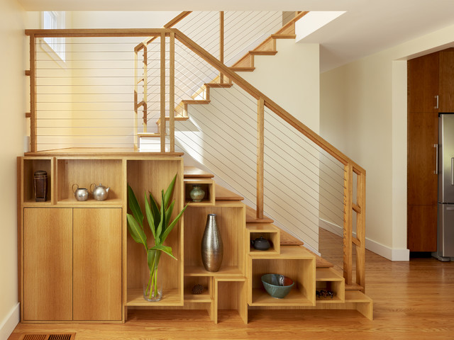 New Staircase With Custom Case Work To Second Story Addition Contemporary  Staircase
