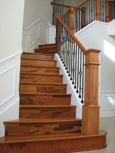 New wood staircase was carpet tropical staircase for Hardwood floors on stairs