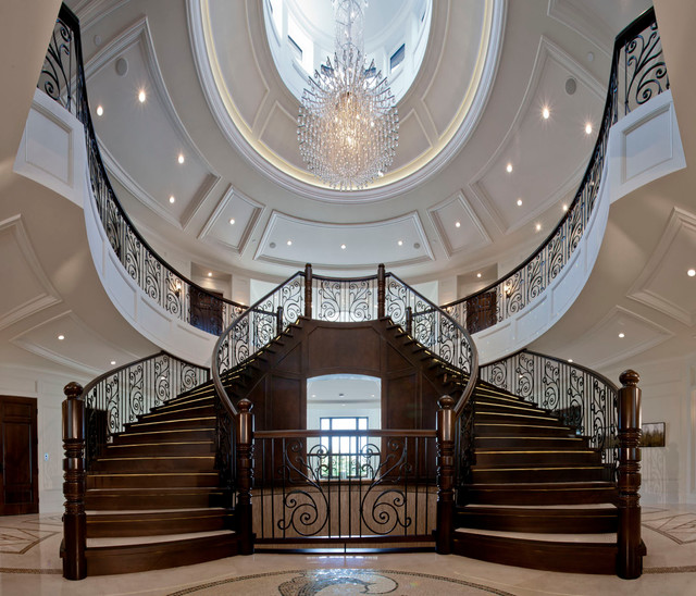 Staircase   Huge Traditional Wooden Curved Staircase Idea In Vancouver