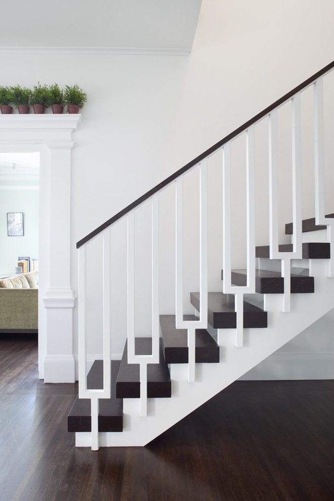 Staircase - transitional wooden staircase idea in San Francisco