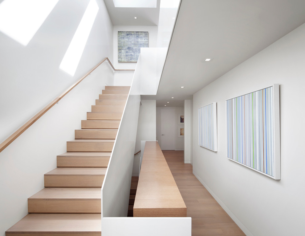 Example of a minimalist wooden staircase design in San Francisco with wooden risers