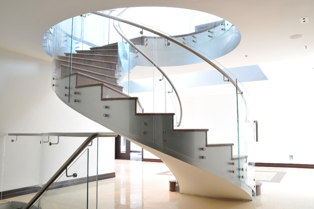 Glass staircase modern living room