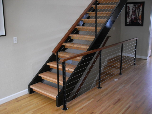 Nw Steel Cable Amp Wood Contemporary Staircase