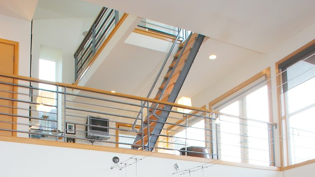 Study With Ship Ladder To Sleeping Loft. Modern Staircase