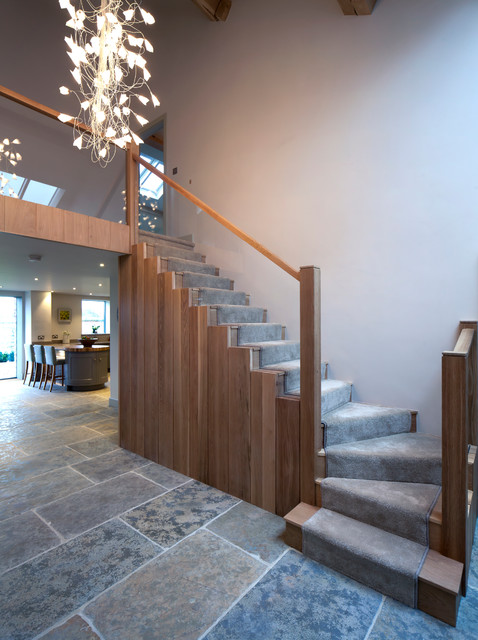 Oak & Glass Staircase in Entrance Hall - Contemporary - Staircase ...
