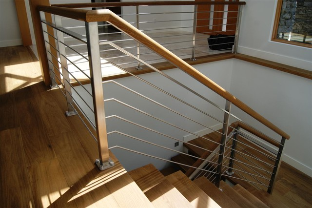 Oak stainless steel interior railing contemporary - Interior stair railing contractors ...