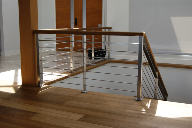 Oak Amp Stainless Steel Interior Railing Contemporary Staircase Vancouver By Avilion