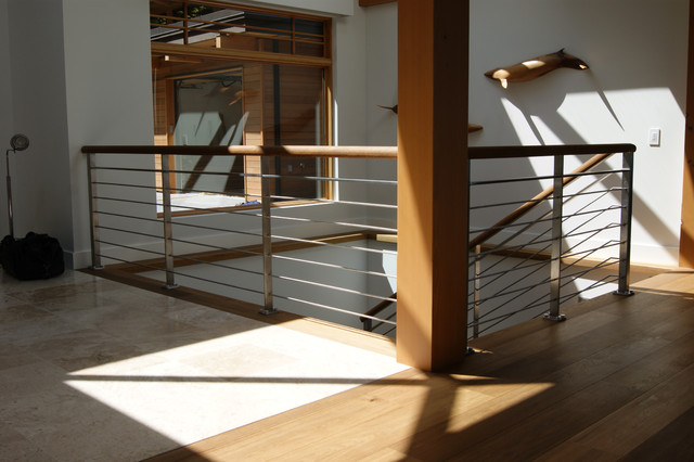 Oak Stainless Steel Interior Railing Contemporary Staircase
