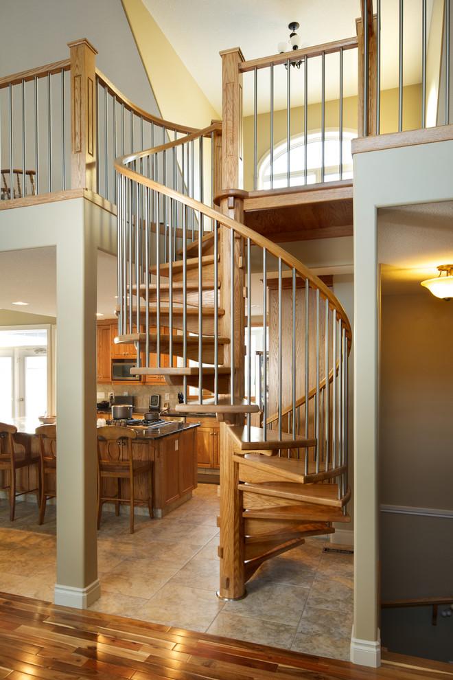 Oak Spiral Craftsman Staircase Edmonton by
