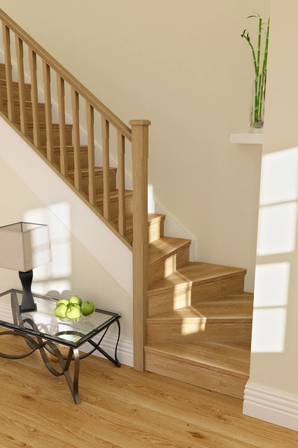 Oak Stair Cladding - Traditional - Staircase - other metro - by Heritage Doors and Floors LTD