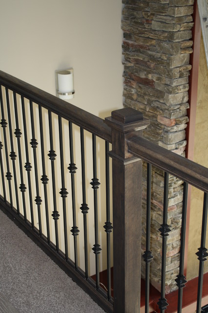 Oak Stair Railing Iron Balusters Justin Doyle Homes