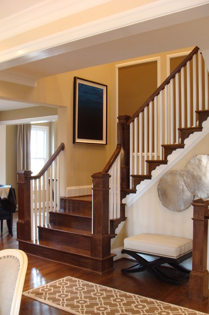 Oak Stairs With Box Newels And Square White Baers Traditional Staircase Dc Metro By Loudoun