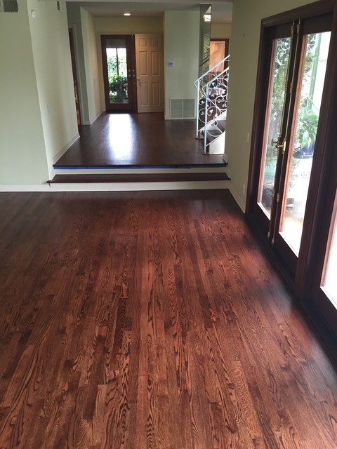 Oak Strip Flooring In Entry And Steps With Rosewood Stain