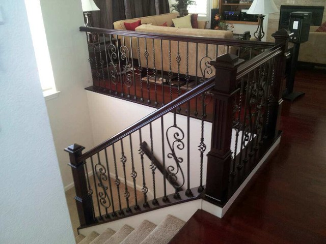 Elegant Staircase   Small Contemporary Carpeted U Shaped Staircase Idea In San  Francisco