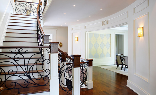 Oakville hardwood floor traditional staircase