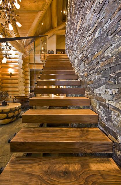 OKANAGAN LOG HOME rustic-staircase