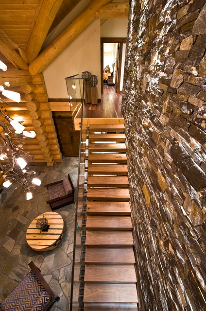 Okanagan Log Home Eclectic Staircase Calgary By