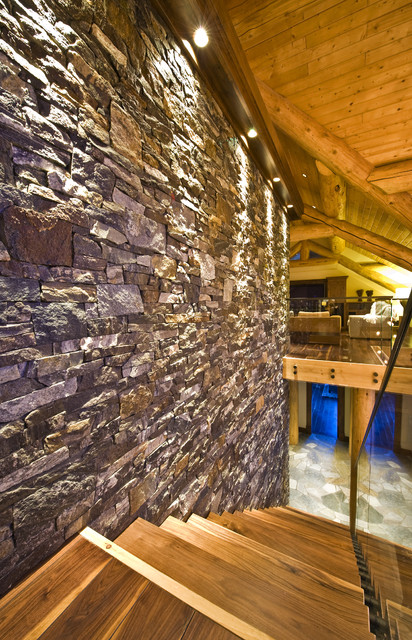 OKANAGAN LOG HOME modern staircase