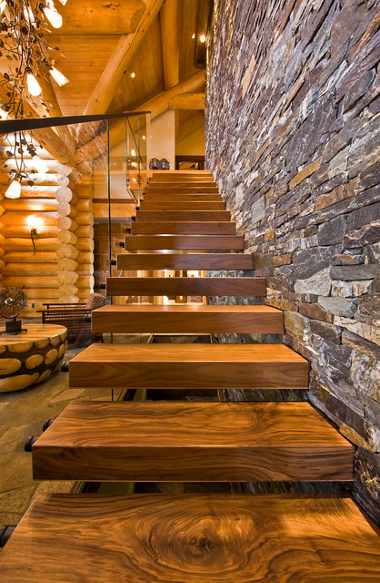 Okanagan Log Home eclectic staircase