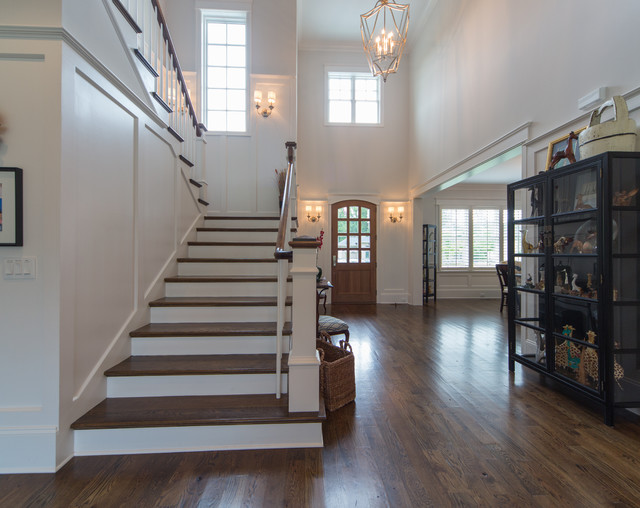 Open Staircase With Wood Panels