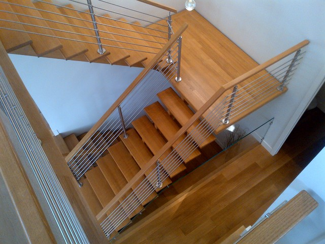 open rise estn oak stairs floating landing zx series stainless steel