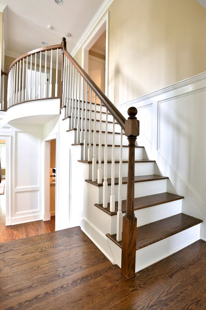 Open Stairs With Custom Wood Paneling Traditional
