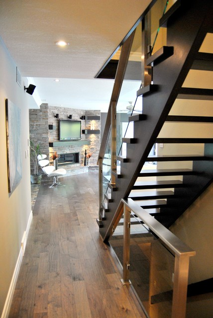 Open Stringer Stairs Contemporary Staircase