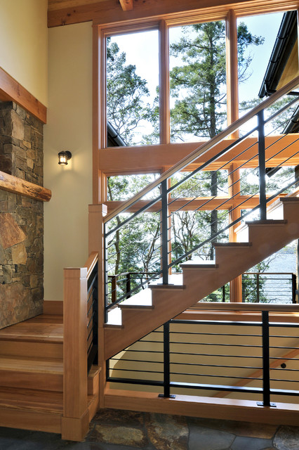 Orcas Island Residence rustic-staircase