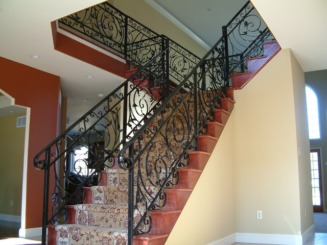 Ornamental Wrought Iron Railing Traditional Staircase