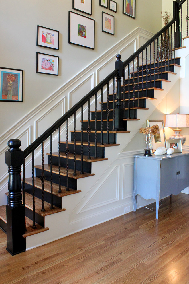 Elegant wooden staircase photo in Other with painted risers