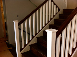 Painted Post And Stained Oak Rail Contemporary