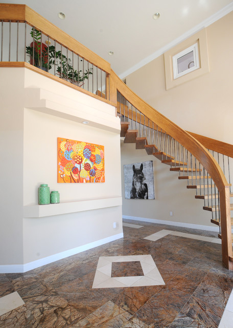 "Painting ""Seeds of Life"" in a private home transitional-staircase"