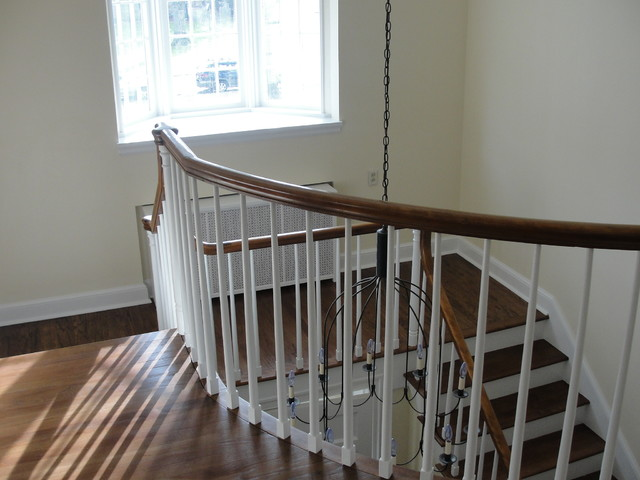 painting,wallpaper,added molding,elect. traditional-staircase