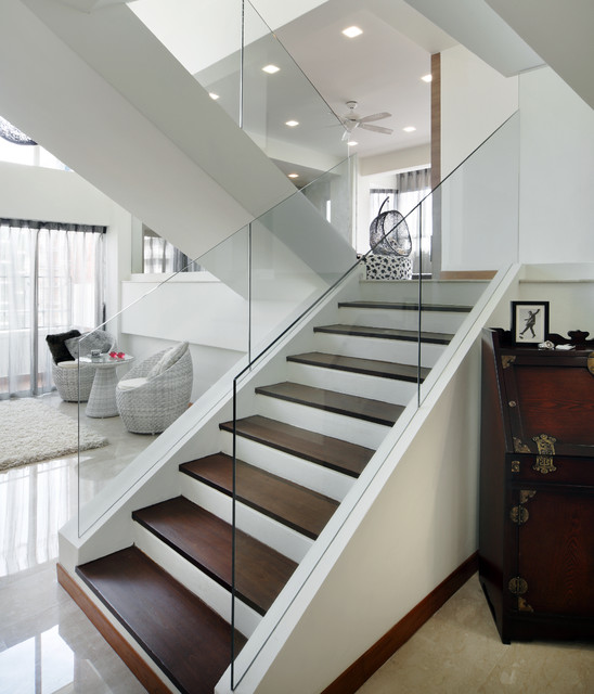 Pandan valley condo modern staircase other metro for Interior glass railing designs