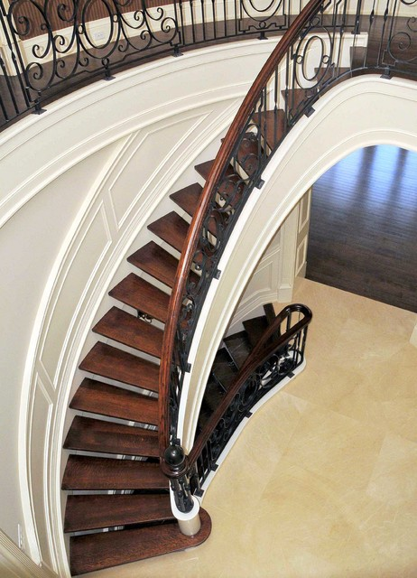 Paneled Stringer Curved Stair Open Concept