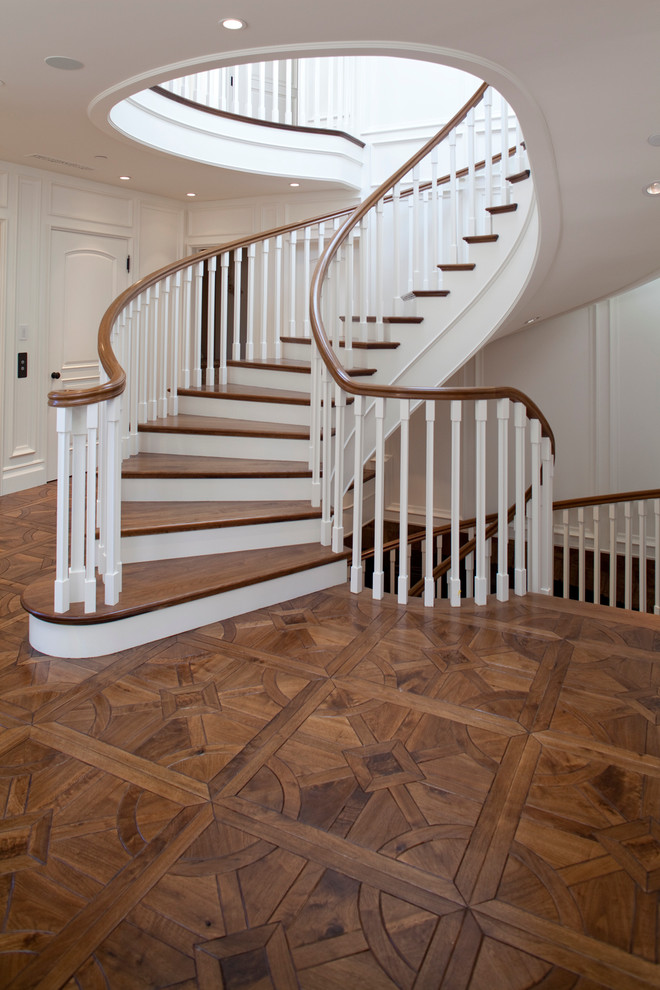 Example of a classic staircase design in Orange County