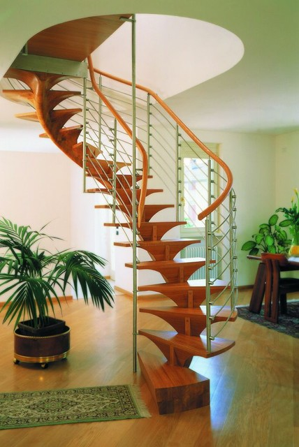 Pentagon wood staircase modern-staircase