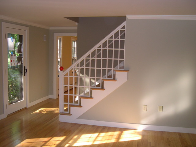 Phase 1: New Hampshire Cape Cod Living Room Remodel Transitional Staircase